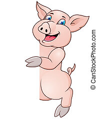Funny pig cartoon wiyh blank sign