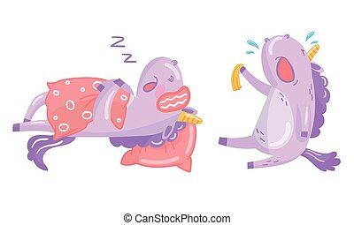 Funny Purple Unicorn Sleeping and Crying Vector Illustration Set