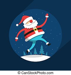Funny running Santa Claus in flat style