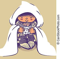 Funny vector cartoon baby wrapped in a blanket drinking cocoa with marshmallows