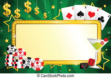 A vector illustration of gambling background with poker chips and cards