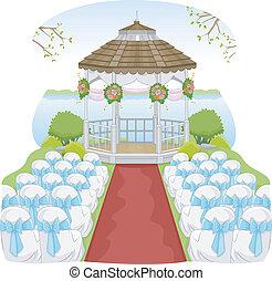 Illustration of a Garden Wedding Featuring a Gazebo