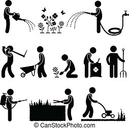 A set of human figure and gardener working on a garden.