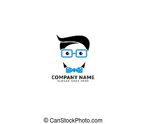 Geek Head Logo Design Illustration