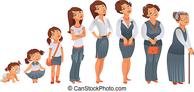 Generations woman. All age categories - infancy, childhood, adolescence, youth, maturity, old age. Stages of development. Vector illustration