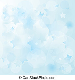 Gentle blue christmas pale background with chaotic translucent stars and balls (vector EPS10)
