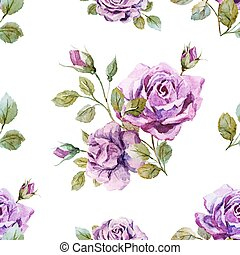 Beautiful vector pattern with gentle watercolor roses