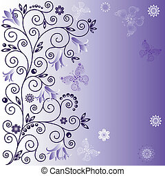 Gentle violet frame with curls, flowers and butterflies (vector)