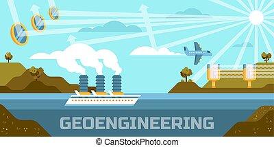 Geoengineering concept vector illustration, altering, atmosphere biosphere ceres