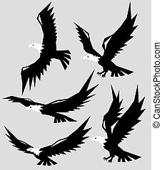 Geometric Eagle Flying Silhouettes