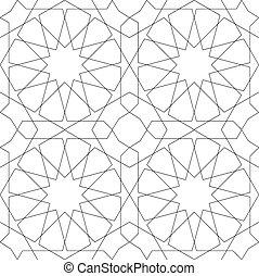 Seamless geometric pattern, Islamic design.