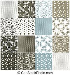 geometric seamless patterns: dots, circles and waves