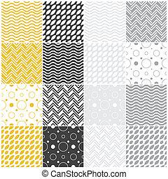 geometric seamless patterns: polka dots, waves, chevron
