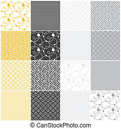 geometric seamless patterns: stripes, waves, dots, circles, chevron