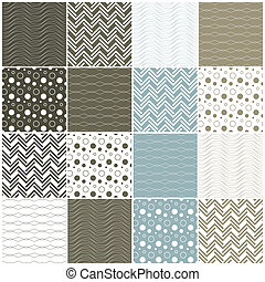 geometric seamless patterns: waves, circles, dots, lines