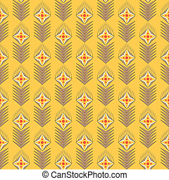 geometrical seamles vector pattern with flowers on yellow background