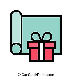 Gift wrapping vector illustration, filled design icon