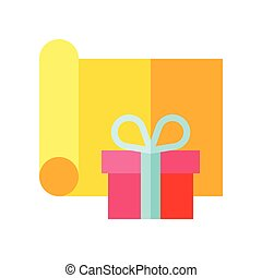 Gift wrapping vector illustration, flat design icon