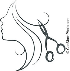 girl and scissors design for hairdresser