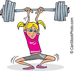 Cartoon illustration of teen girl lifting heavy weight