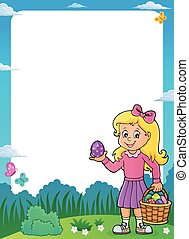 Girl with Easter eggs theme frame 1
