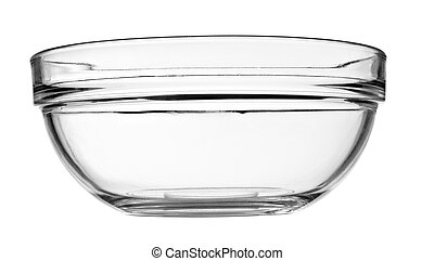 close up of a glass bowl on white background with clipping path