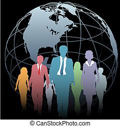 Global Business People Earth Globe on Black