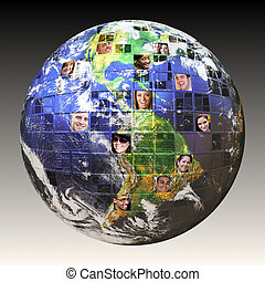Montage of the earth with a global network of people from all walks of life on different continents isolated over white. Clipping path included. Earth photo courtesy of NASA.