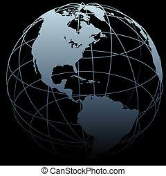 Globe symbol Earth latitude longitude 3D map on black