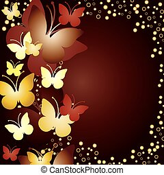 Gold background with butterflies