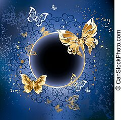gold butterfly with gold round banner on blue textural background.