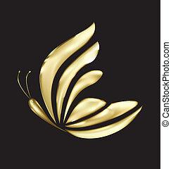 Gold butterfly luxury logo vector