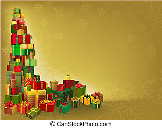 Gold Christmas gift background