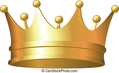 Gold Crown, Isolated On White Background, Vector Illustration