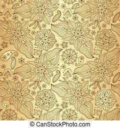 Gold lacy seamless pattern