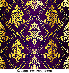 Gold on Purple seamless Indian pattern with dots