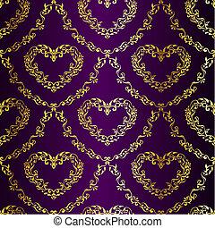 Gold on Purple seamless sari pattern with hearts