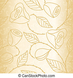 Gold seamless hand drawn pattern with roses