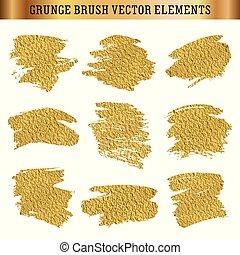 Gold set of hand drawn grunge brush texture elements