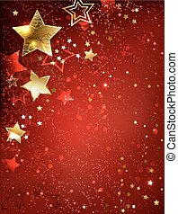 gold stars on red textural background.