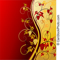 gold vintage background with grape