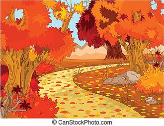 Golden Autumn Forest Landscape