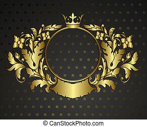 Golden emblem cartouche. Vector vintage border frame engraving with retro ornament pattern in antique rococo style decorative design