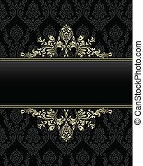 golden frame on seamless baroque background