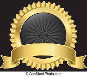 Golden label with ribbon, vector