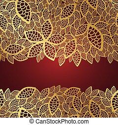 Golden leaf lace on red background
