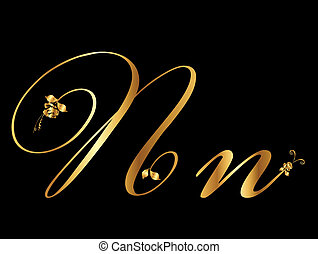 Golden vector letter N with roses (collection)