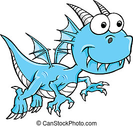 Goofy Silly Blue Dragon Vector