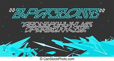 Graffiti Style Sci-fi Cyberpunk Abstract Technology Futuristic Alphabet Font SpaceOne Digital Typography Vector Illustration