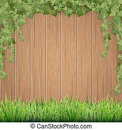 Grass and hanging ivy on wooden background.